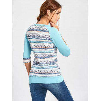 Crochet Pocket Raglan Sleeve Printed T-shirt - LIGHT BLUE LIGHT BLUE