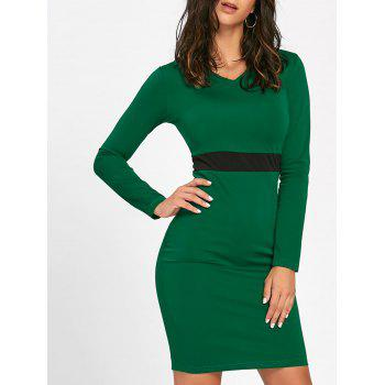 V Neck Two Tone Bodycon Dress - DEEP GREEN DEEP GREEN