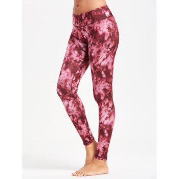 Tie Dye Slim Sports Leggings - RED RED