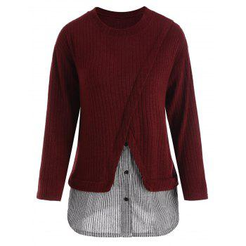 Striped Panel Plus Size Drop Shoulder Knitwear - WINE RED WINE RED