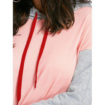 Drawstring Color Block Mini Hoodie Dress - PINK PINK
