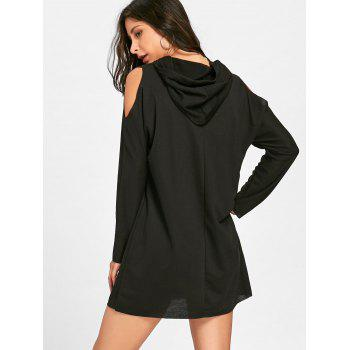 Cold Shoulder Mini Hoodie Dress - BLACK L