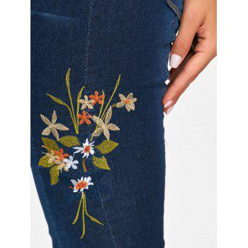 Skinny High Waisted Floral Embroidered Jeans - DEEP BLUE DEEP BLUE