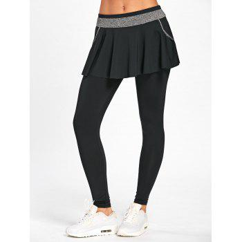 High Waist Skinny Gym Skirted Leggings - BLACK BLACK