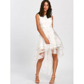 High Low Party Prom Tiered Tulle Dress - WHITE WHITE
