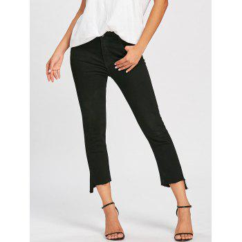 Frayed Hem Zipper Cropped Jeans - BLACK BLACK