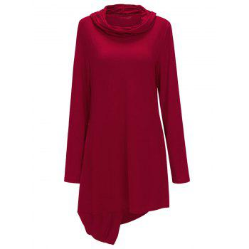 Cowl Neck Asymmetric Sweatshirt Dress - RED RED