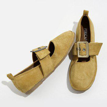 Faux Suede Buckle Strap Flats - YELLOW YELLOW
