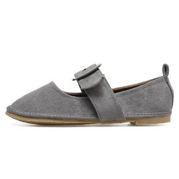 Faux Suede Buckle Strap Flats - GRAY GRAY