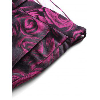 3D Roses Print Blazer Three Piece Suit - PURPLISH RED PURPLISH RED
