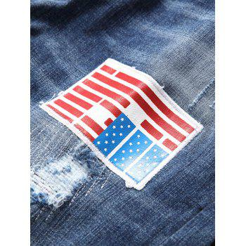 Flag Applique Bleached Straight Leg Ripped Jeans - BLUE 36