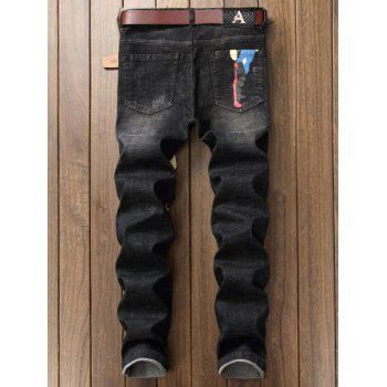 Straight Leg Color Block Graphic Print Jeans - DEEP GRAY 36