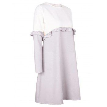 Flounce Two Tone Shift Dress - GRAY GRAY