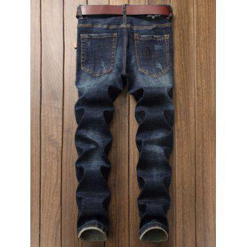 Embroidered Bleached Straight Leg Ripped Jeans - BLUE 30