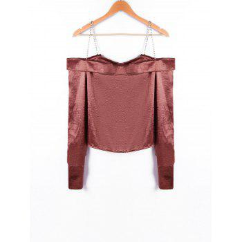 Chains Detail Crop Blouse - DARK AUBURN XL
