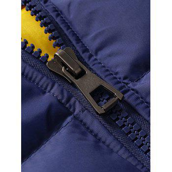Detachable Hood Zipper Up Quilted Jacket - BLUE M