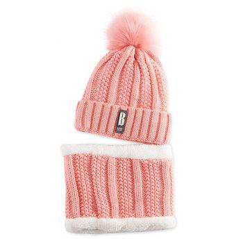 Letter B Label Knitted Pom Hat and Scarf - PAPAYA PAPAYA