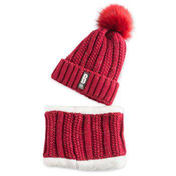 Letter B Label Knitted Pom Hat and Scarf - WINE RED WINE RED