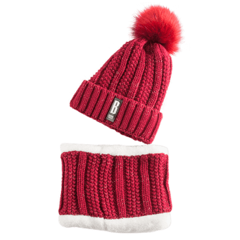Letter B Label Knitted Pom Hat and Scarf -  WINE RED