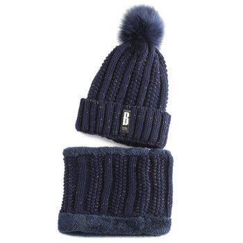 Letter B Label Knitted Pom Hat and Scarf - PURPLISH BLUE PURPLISH BLUE