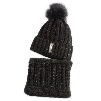 Letter B Label Knitted Pom Hat and Scarf - BLACK BLACK