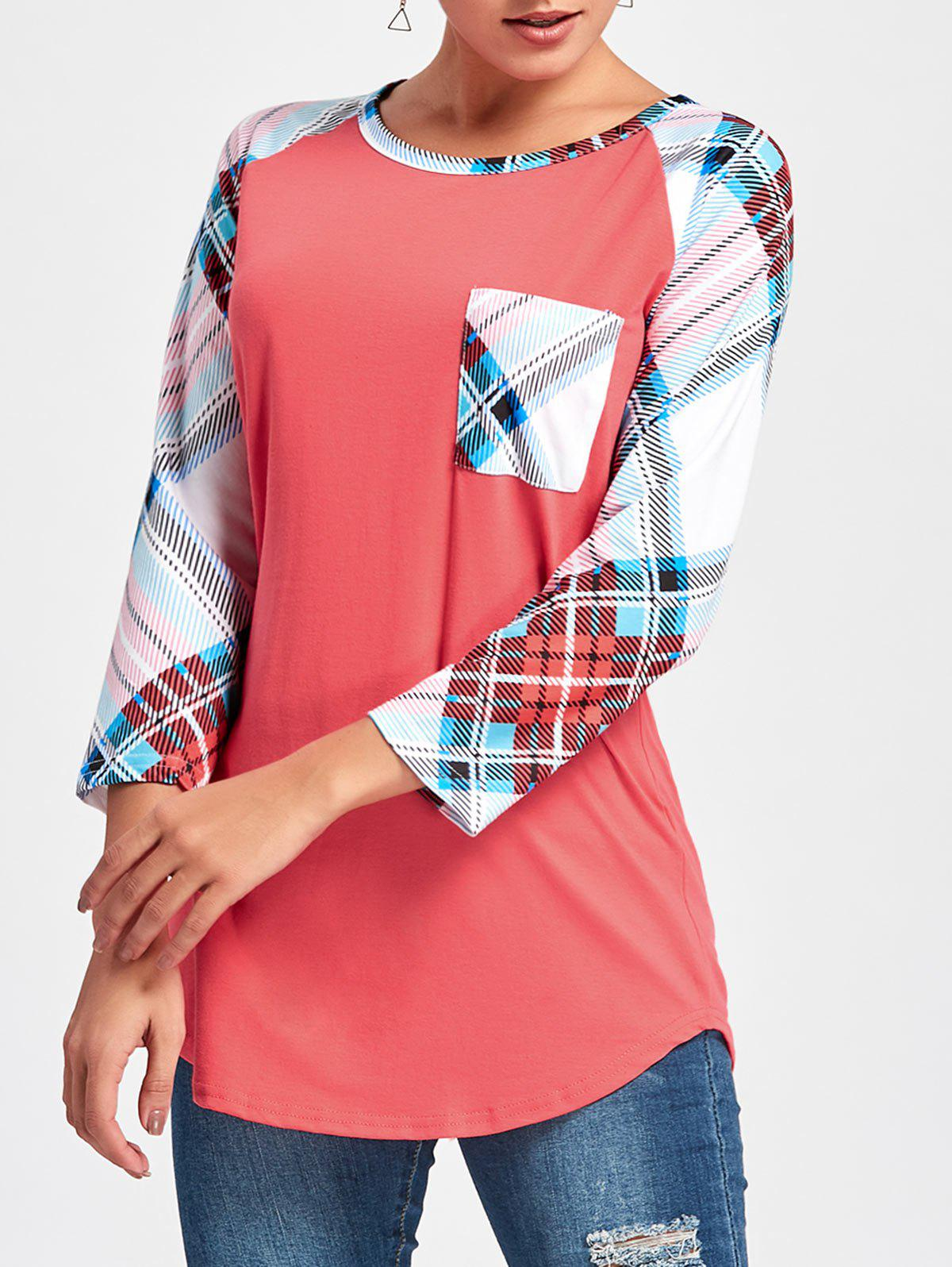 Tartan Raglan Sleeve Tunic Tee - RED M