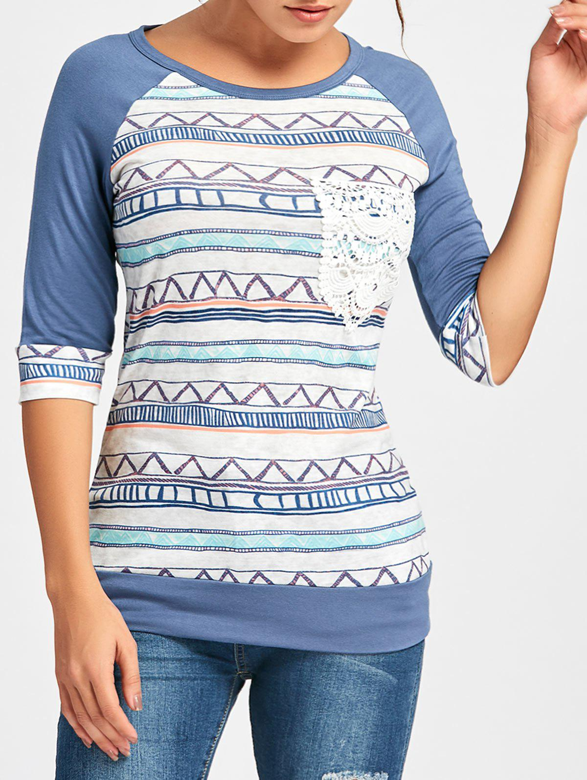 Crochet Pocket Raglan Sleeve Printed T-shirt - DEEP BLUE 2XL
