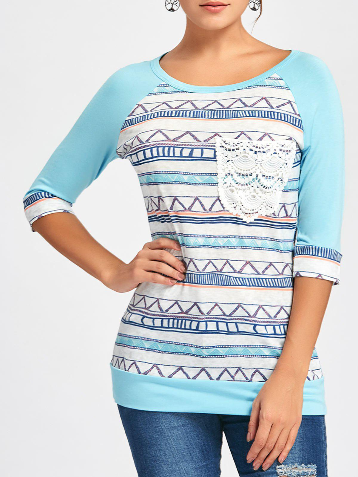 Crochet Pocket Raglan Sleeve Printed T-shirt - LIGHT BLUE S