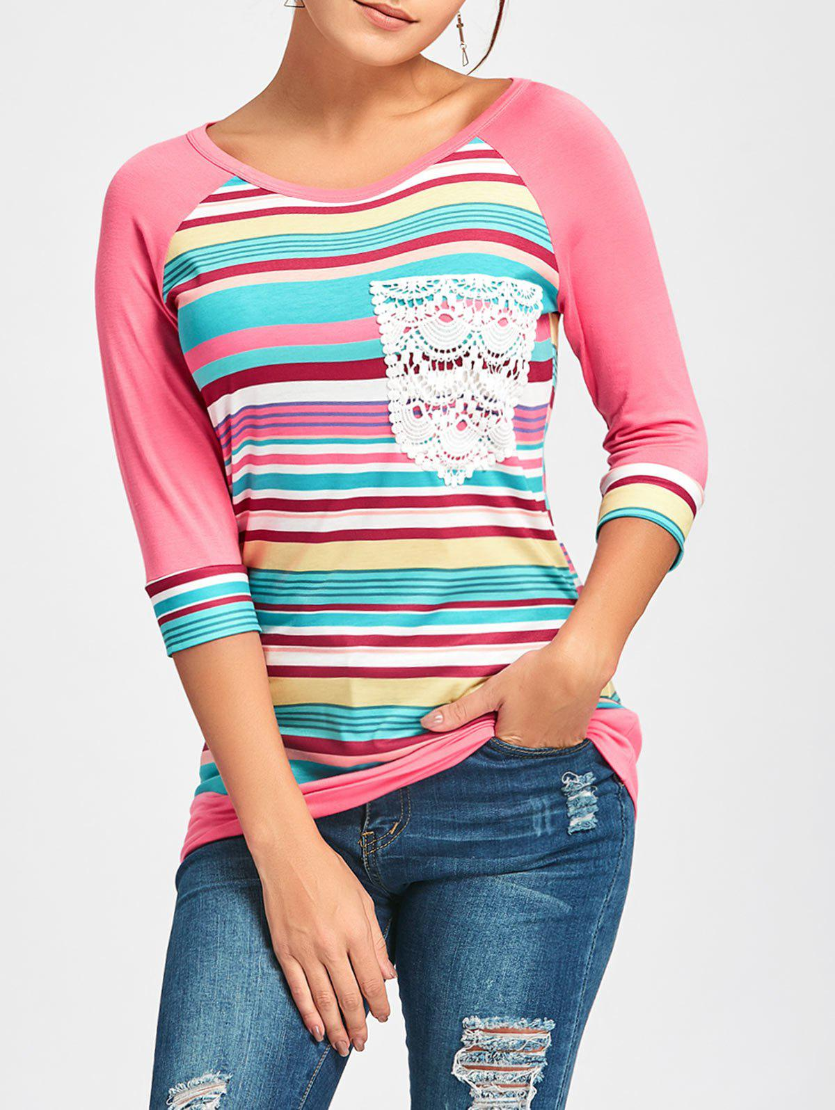 Crochet Pocket Raglan Sleeve Printed T-shirt - PINK L