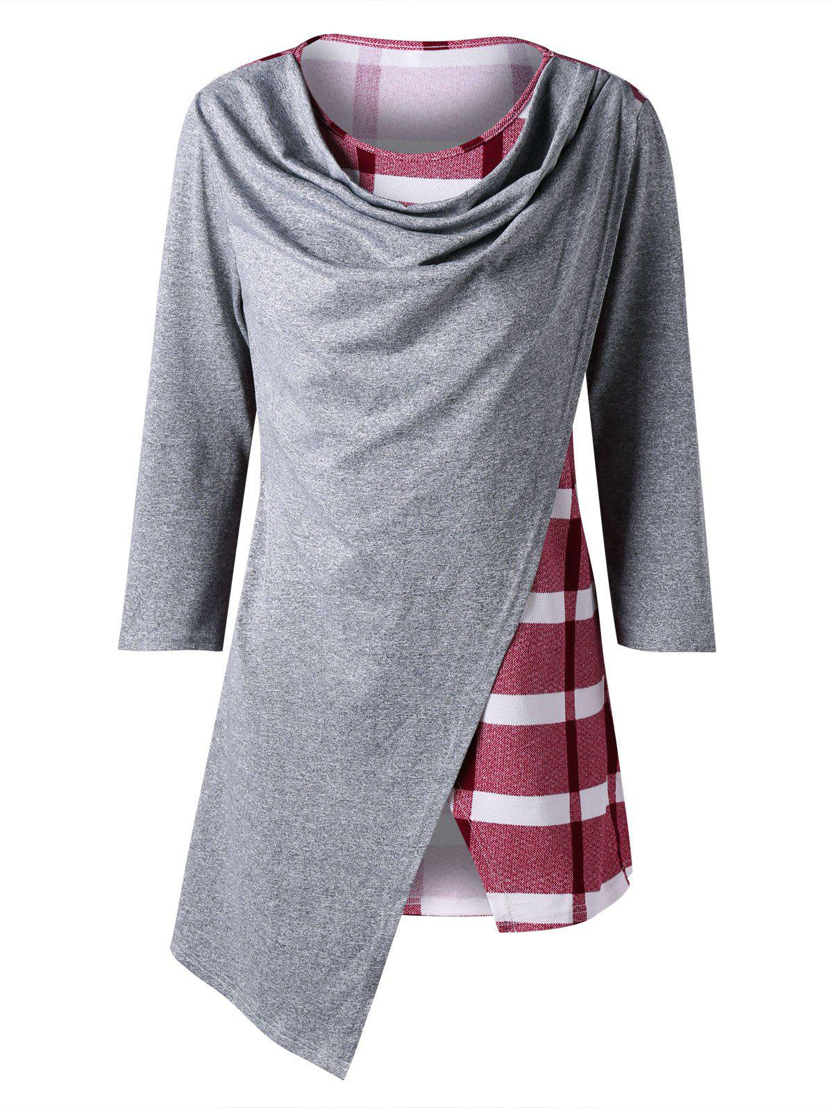 Marled Plaid Cowl Neck Top - RED L