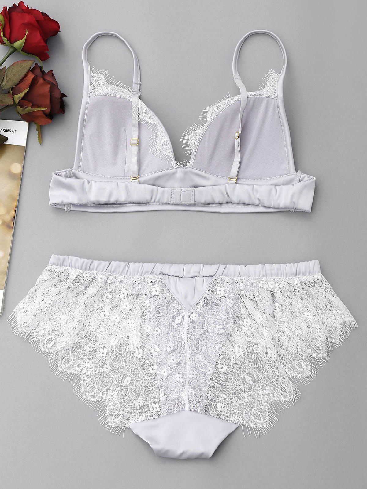 Lace Eyelash See Through Bra Set - Gel M