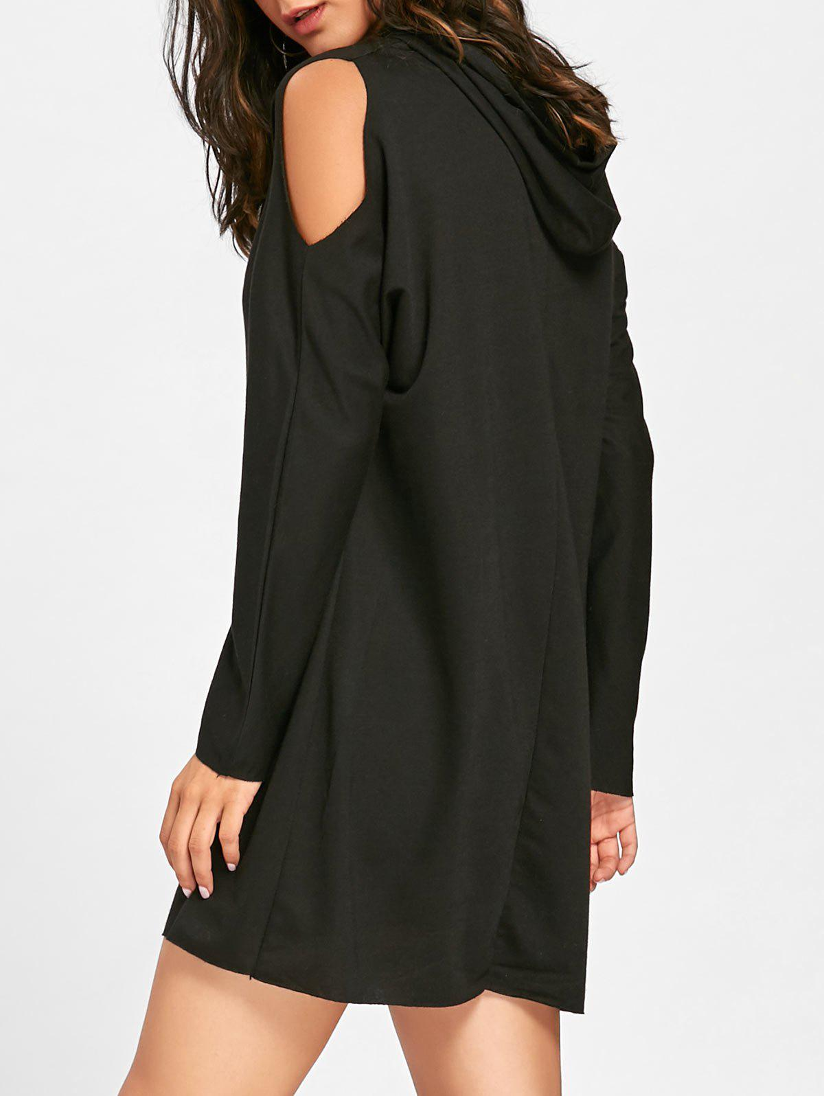 Cold Shoulder Mini Hoodie Dress - BLACK XL