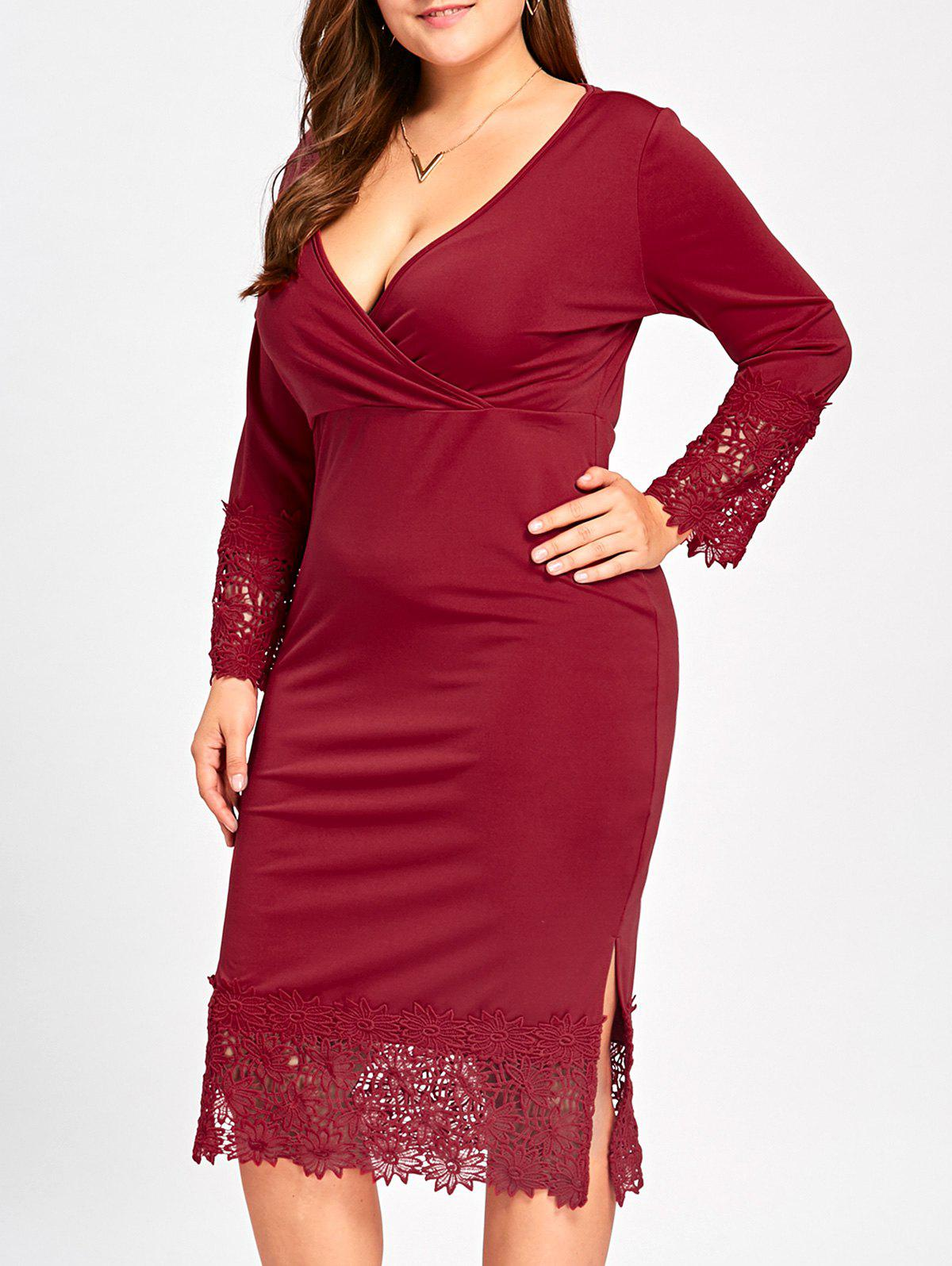 Lace Trim Plus Size Surplice Dress - Rouge vineux 3XL