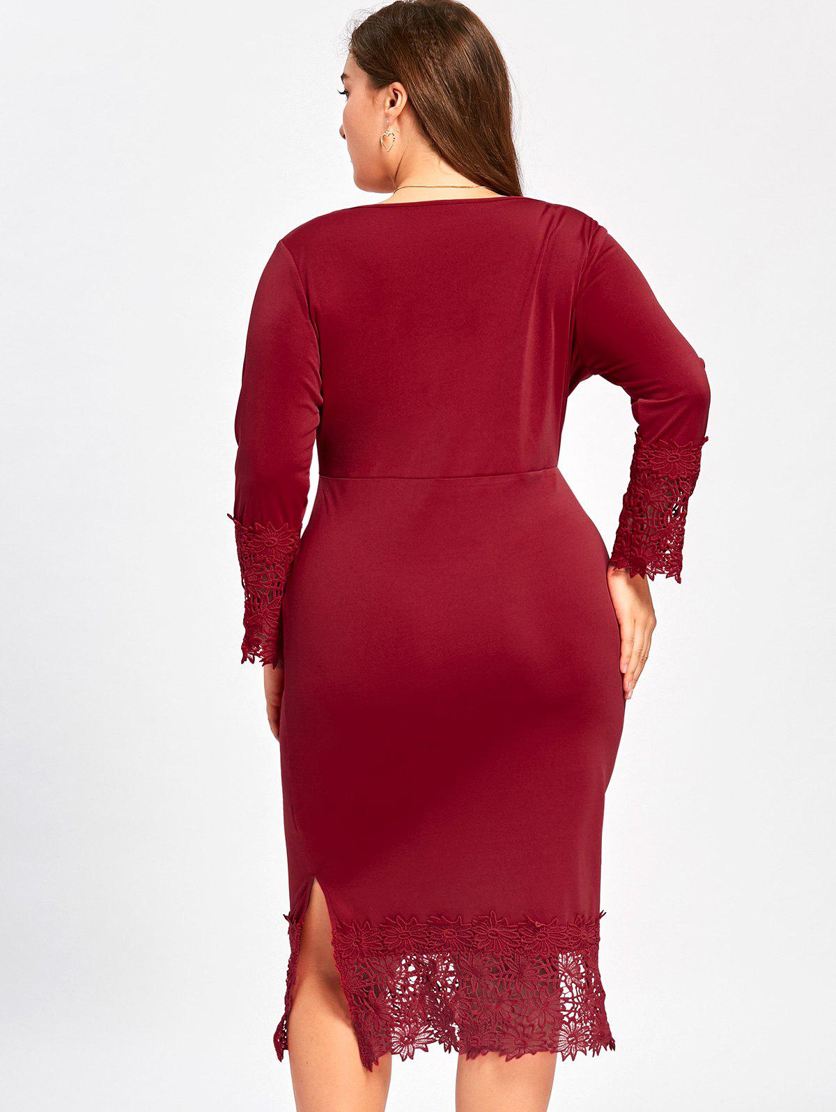 Lace Trim Plus Size Surplice Dress - Rouge vineux 4XL