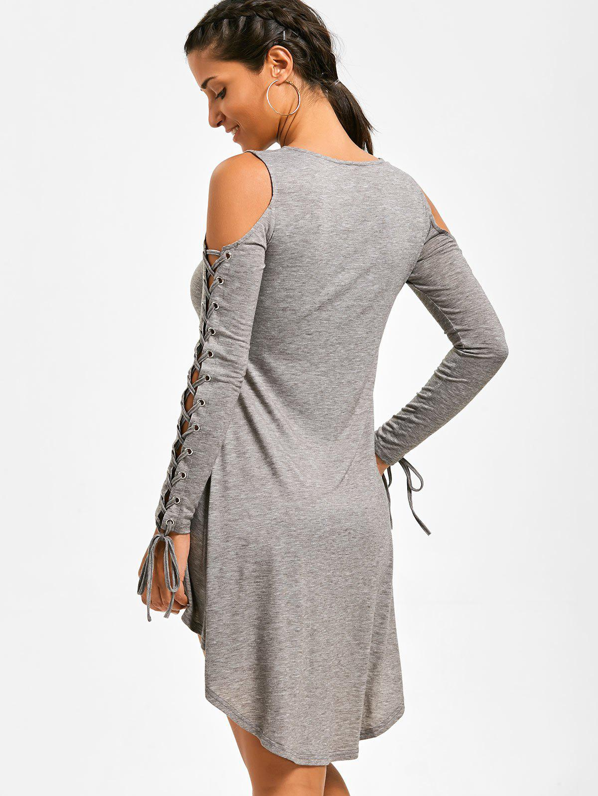 Lace Up Cold Shoulder Tee Dress - HEATHER GRAY XL
