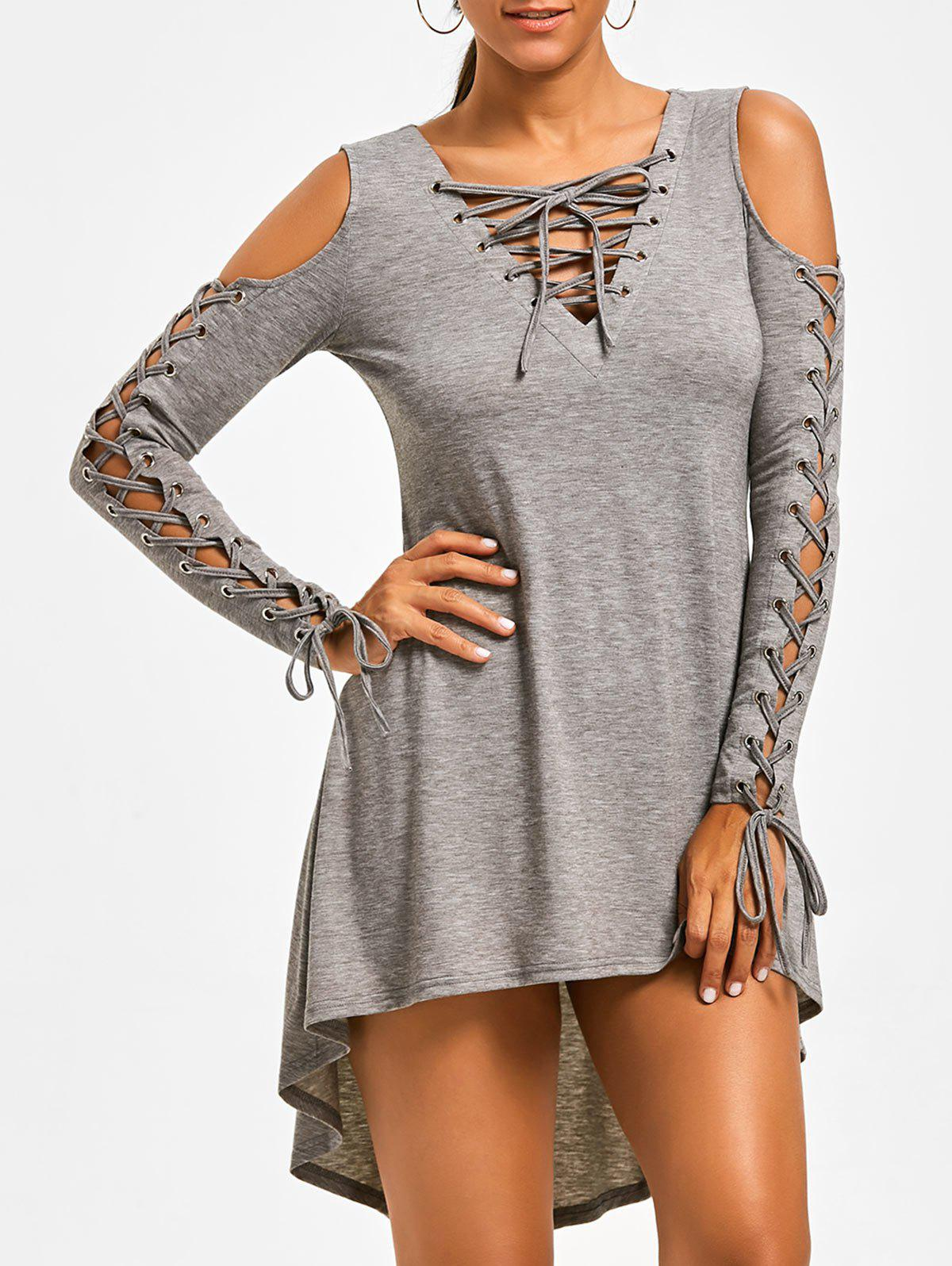 Lace Up Cold Shoulder Tee Dress - HEATHER GRAY L