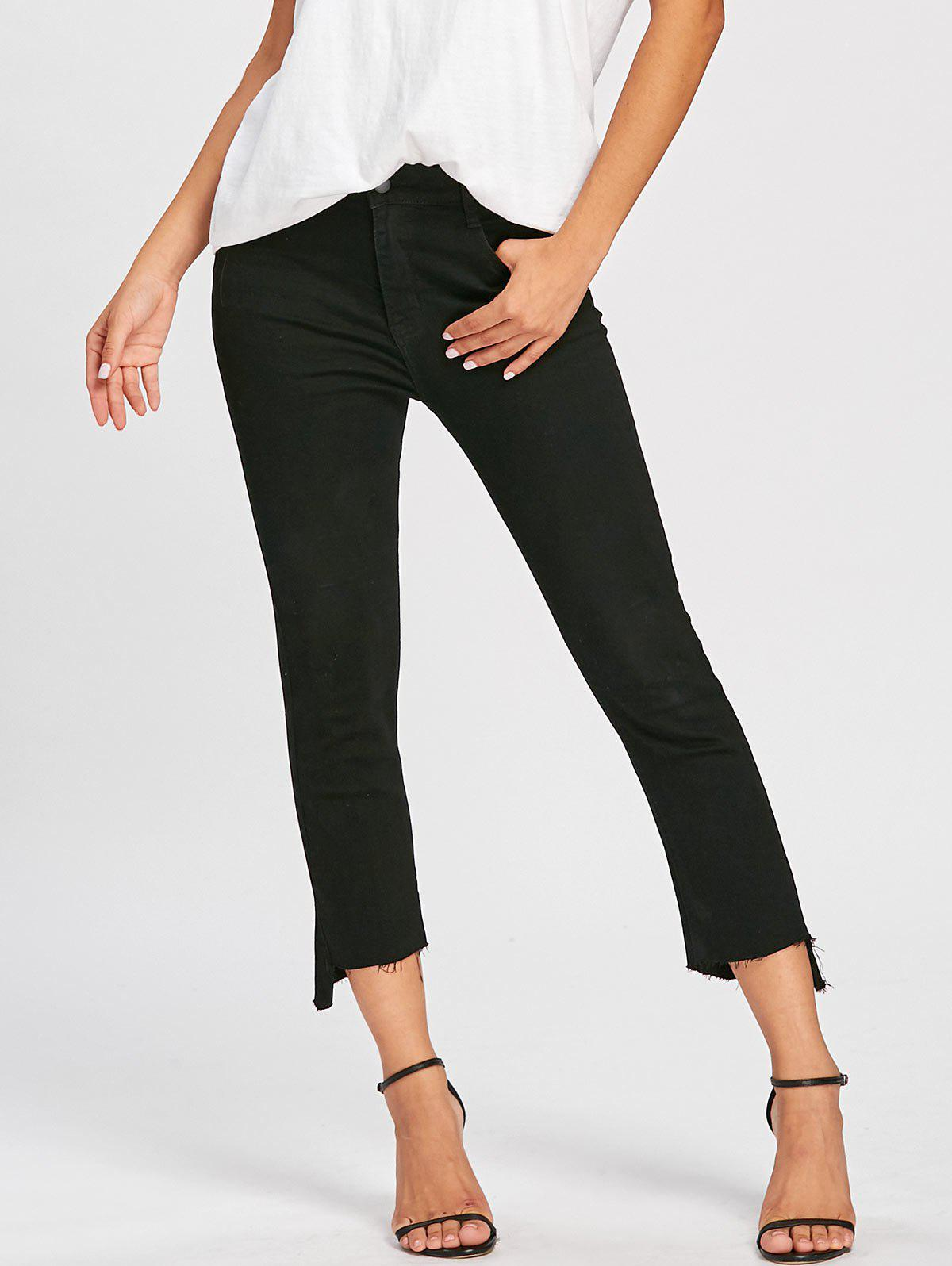 Frayed Hem Zipper Cropped Jeans - BLACK M