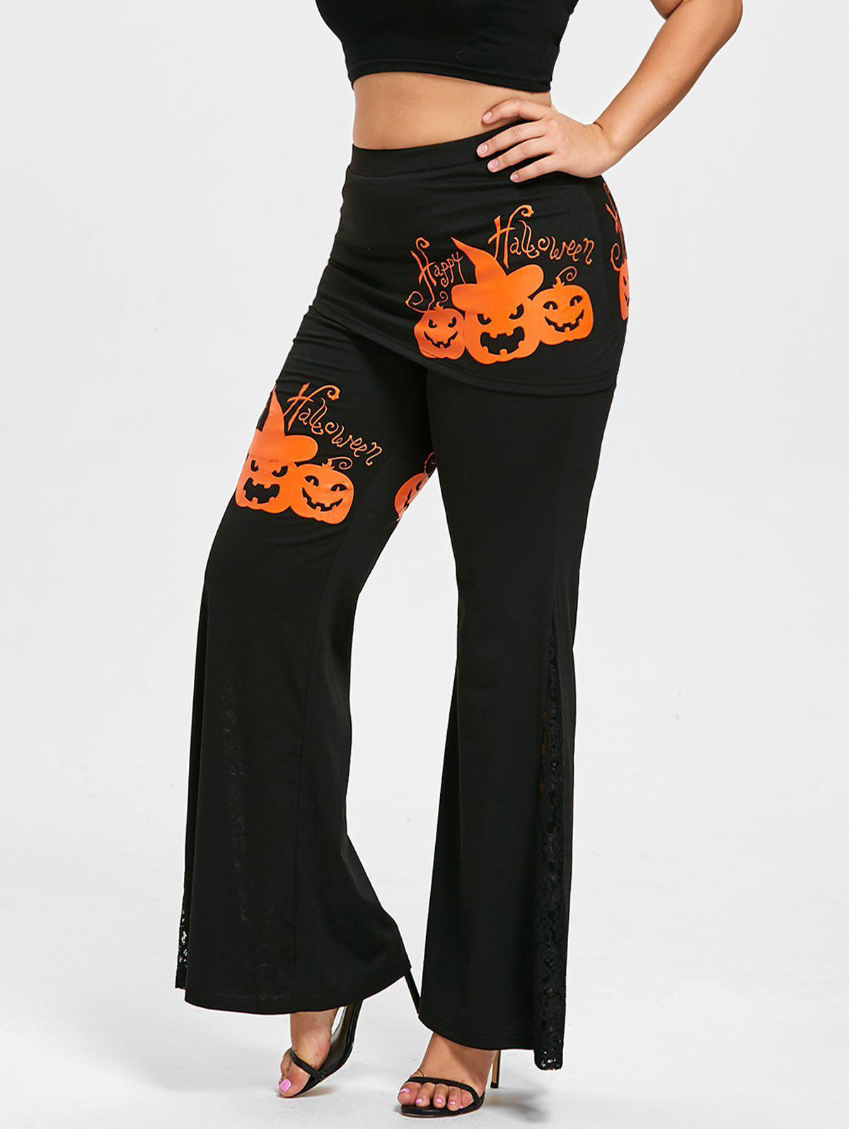 Halloween Pumpkin Lace Panel Plus Size Skirted Pants - BLACK 5XL