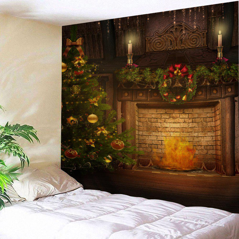 Wall Decor Christmas Tree Fireplace Print Tapestry christmas tree snowman printed wall tapestry