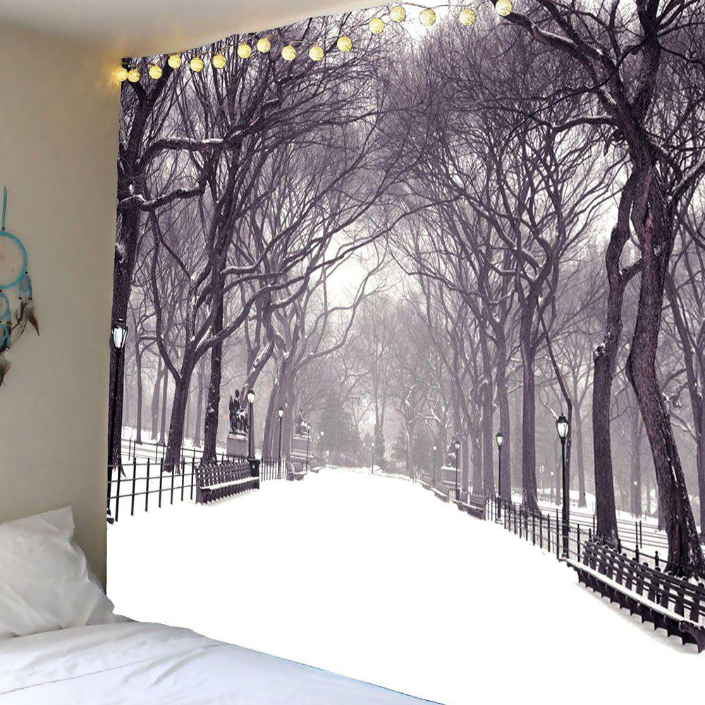 Waterproof Snowfield Trees Printed Wall Hanging Tapestry waterproof swans cascade trees wall tapestry