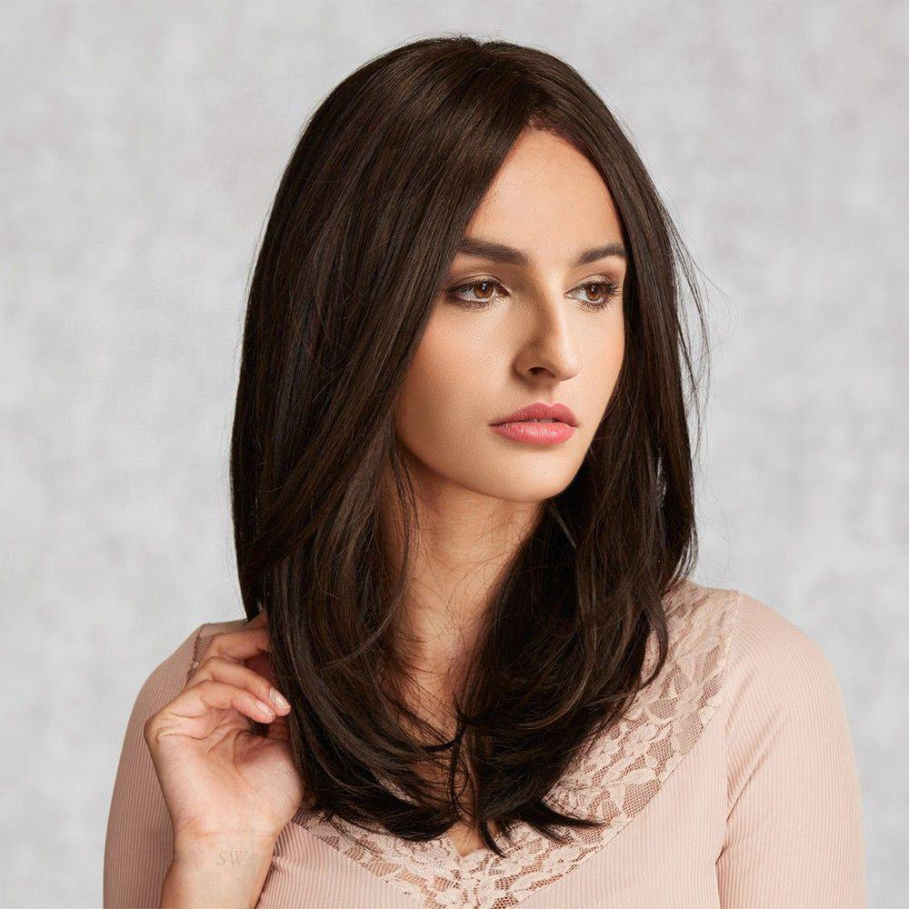 Middle Parting Natural Straight Long Synthetic Wig - BROWN
