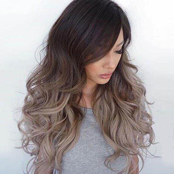 Long Side Bang Fluffy Ombre Wavy Synthetic Wig - GRADIENT COLOR
