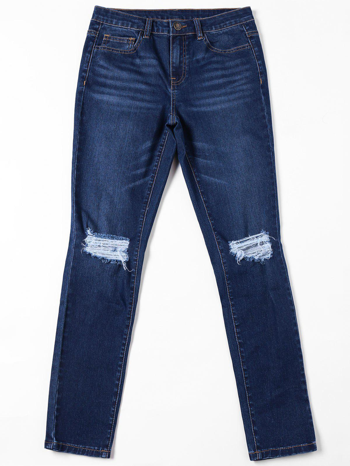 Cat's Whisker Ripped Jeans with Pockets - DENIM BLUE L