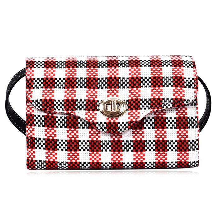 Plaid Color Blocking Crossbody Bag - RED