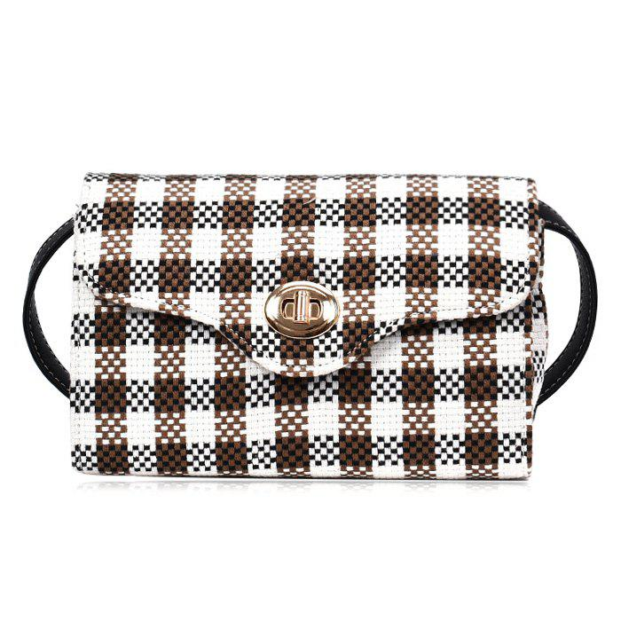 Plaid Color Blocking Crossbody Bag - BROWN