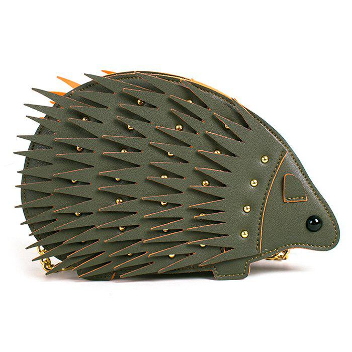 Rivet Chain Hedgehog Shape Crossbody Bag - GREEN