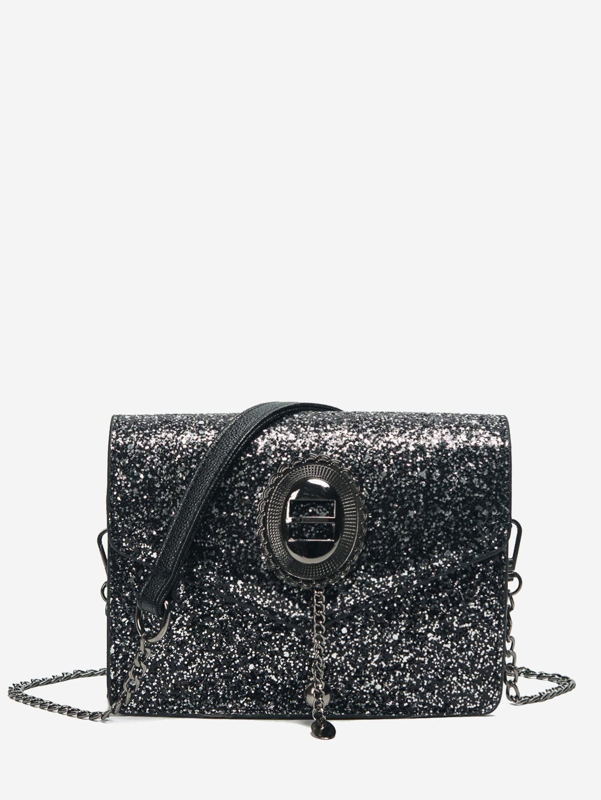 Sequin Chain Crossbody Bag - BLACK
