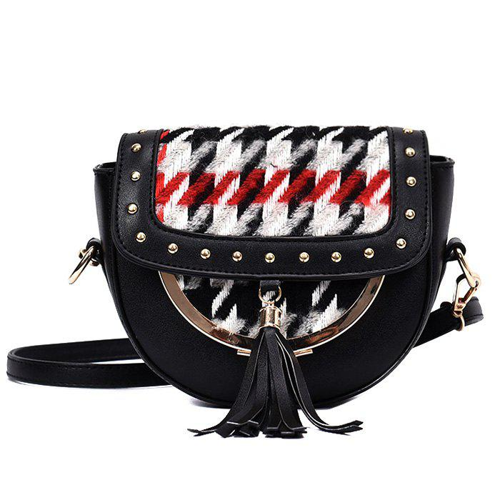 Rivet Plaid Tassel Crossbody Bag - Noir
