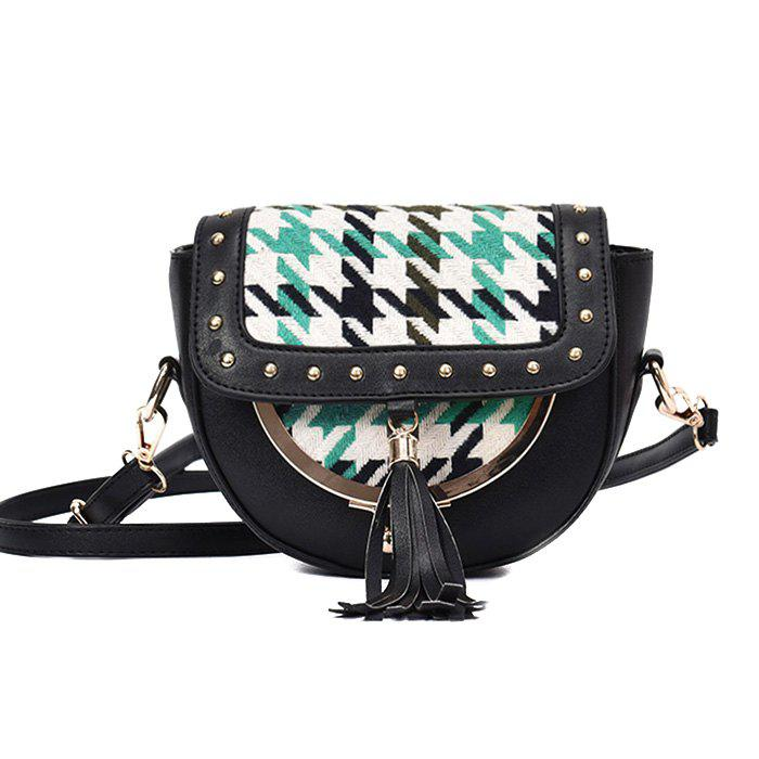 Rivet Plaid Tassel Crossbody Bag - Vert