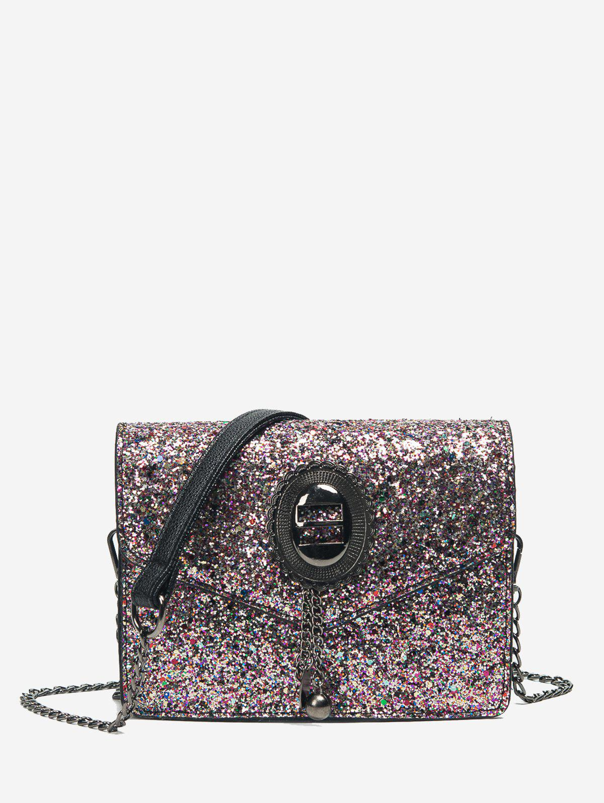 Sequin Chain Crossbody Bag - PINK